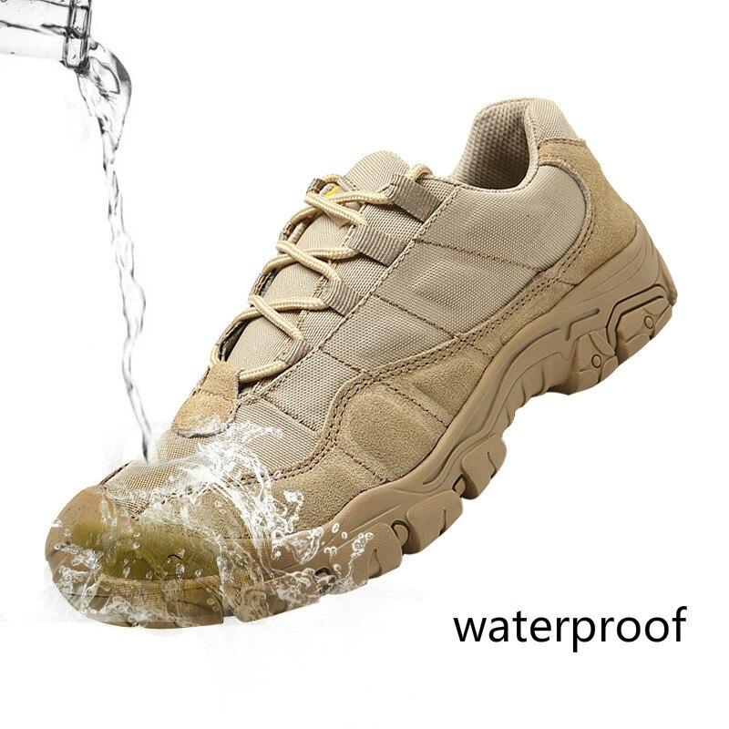 Los hombres al aire libre senderismo impermeable transpirable Tactical Combat ejército desierto zapatillas antideslizantes zapatos de Trekking