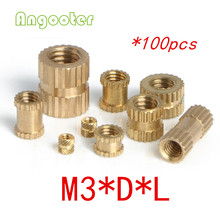 100pcs M3 Through thread brass insert nut/Brass insert nut/knurled thumb nut/knurled nuts for injection moulding/(China)