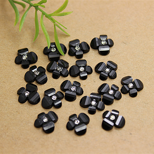 Nail art center promotion shop for promotional nail art center on 100pcs free shipping clear black glitter resin rhinestone flower diy nail arthair bow center decoration prinsesfo Gallery