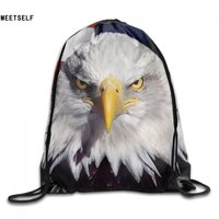 MEETSELF American flag Print Shoulders Bag Fabric Backpack men and women Port Drawstring Travel Shoes Dust Storage Bags
