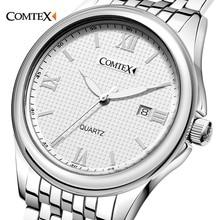 COMTEX Negócios Homens Relógios Famosa Marca De Luxo Assista Mens China Simples Relógio de Aço Inoxidável Relógio de Quartzo relógio de Pulso À Prova D' Água