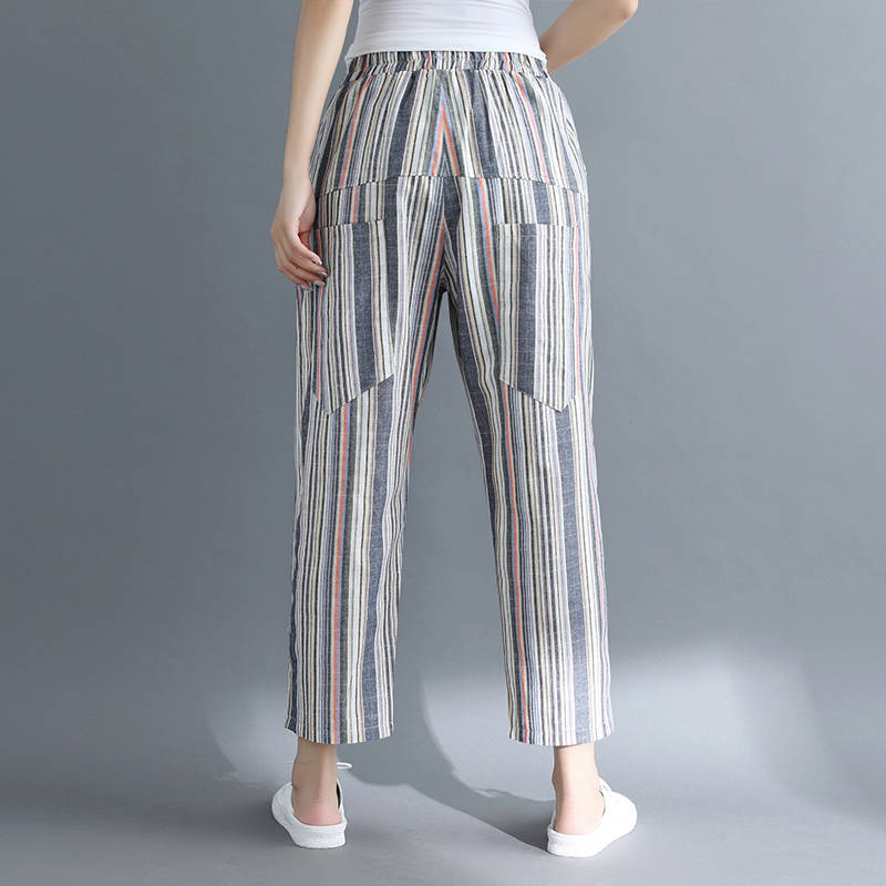 Idopy Fashion Womens Harem Pants Cotton Linen Loose Fit Striped Ankle Length Summer Drop Crotch Trousers For Female Outerwear 4