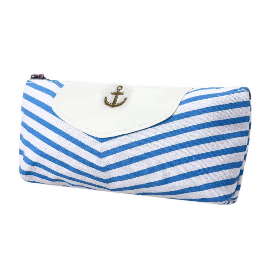 Student Navy Canvas Pen Pencil Case High Quality Stripes Coin Purse Fashion Zipper Pouch Bag New Estojo De Lapis #Y mint student navy canvas pen pencil case coin purse pouch bag jun01