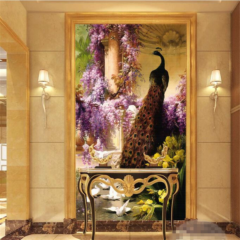Beibehang 3D Wallpaper European Classical Archeology Oil Painting Peacock Phoenix Oil Painting Corridor Background Mural Photo
