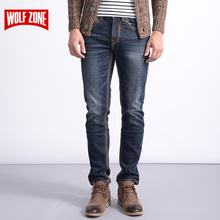 Real New Design Jeans Men Brand Stretch Denim Mens Pants Zip Fly Biker Jean Male Long Trousers Blue Full Length Mid Winter