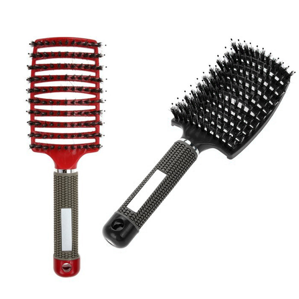 black red hairbrush hair salon
