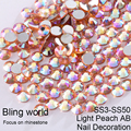 SS3-SS30 Light Peach AB Nail Art Rhinestones With Round Flatback For Nails Art Cell Phone And Wedding Decorations