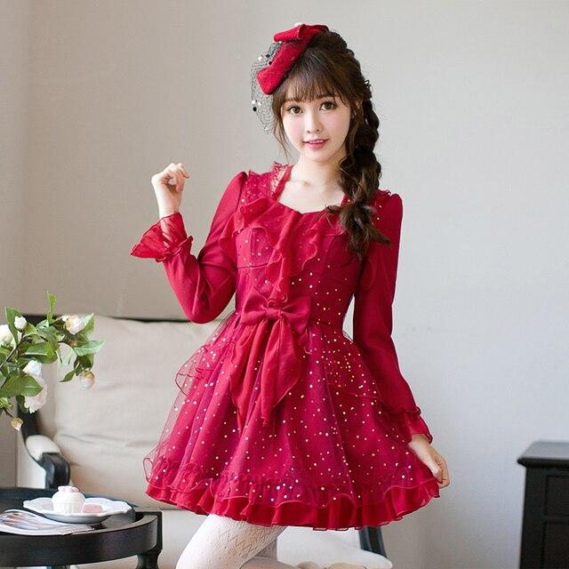 Платье принцессы сладкой Лолиты яркий дождь осень оригинальная японская Девочка Сладкая бабочка рукав jacobs платье принцессы C22CD7200