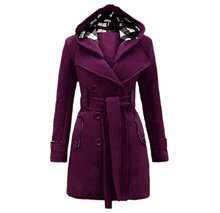 KXP Womens Casual Belted Hood Double-Breasted Lapel Peacoats(China)