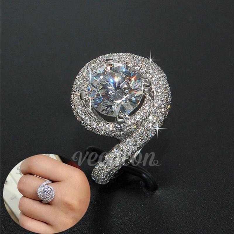 Vecalon Romantico anello Donna Uomo Gioielli 2ct AAAAA Zircone cz 925 Sterling Silver lovers anello di Fidanzamento wedding Band ring Regalo