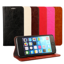 Real Genuine Leather Case for iPhone 5 5S Flip Stand Design Phone Back Cover Wallet with Card Slot Book Style Black Red Brown