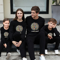 Family Long Sleeve Pullovers Printing Flowers Tree Father Mother Kids Sweaters Cotton Family Matching Outfits Black