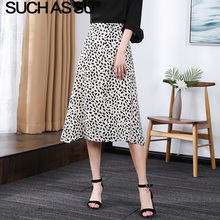 Women Clothes 2019 New Chiffon Skirt Summer Black White Speckle Print High Waist Midi S-3XL Plus Size Female A Line