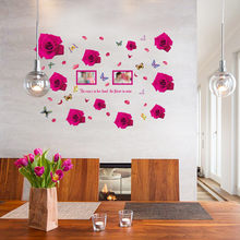 Multi Piece Package Hot Pink Rose Background Wall Decoration Removable Stickers For Home And Hotel