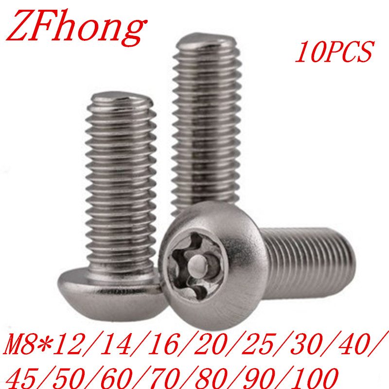 20pcs ISO7380 M8*12/16/20/25/30/35/40/50/60/70/80/90/100 A2 Stainless Steel Torx Button Head Tamper Proof Security Screw Screws 7380 fan7380 sop 8