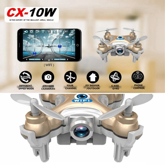 Mini Rc Drone With Camera Cheerson Cx-10w Cx10wd Rc Helicopter Wifi Camera  Fpv Quadcopter Remote Control Toys  Christmas Gift
