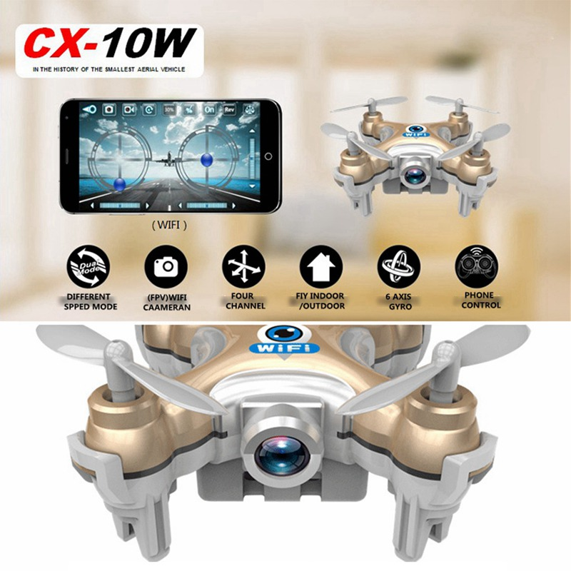 Mini Rc font b Drone b font With Camera Cheerson Cx 10w Cx10wd Rc Helicopter Wifi