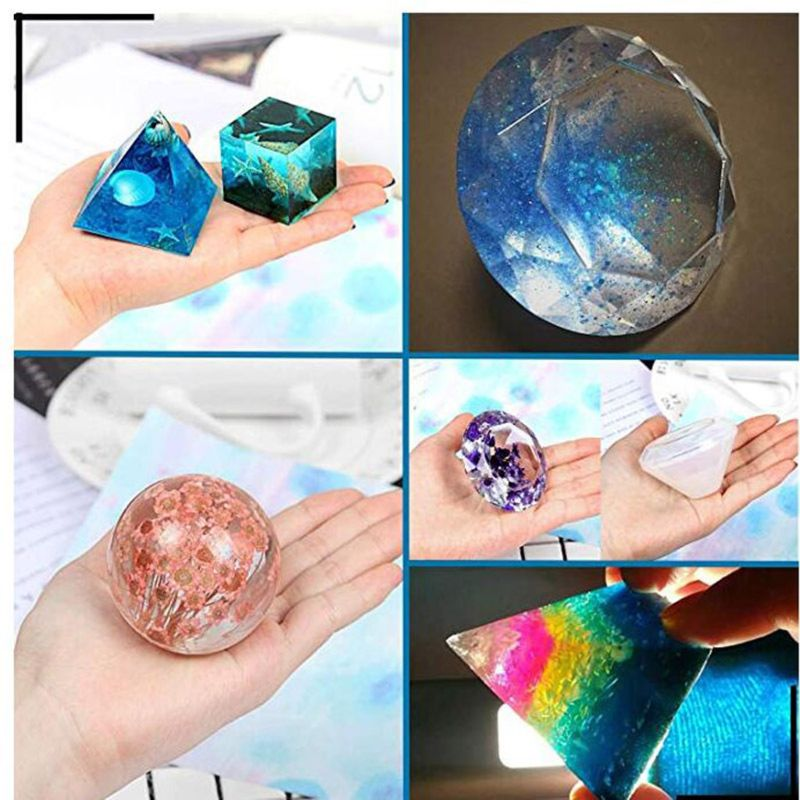 Resin Molds Kit Large Silicone Epoxy Resin Molds Including Cube Pyramid Sphere Jewelry Making DIY Tools
