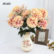 11 Bunch/Bouquet Fall Artificial Daisy flowers Chrysanthemum Fake Leaf Silk flower bouquet for wedding home party decoration цена и фото