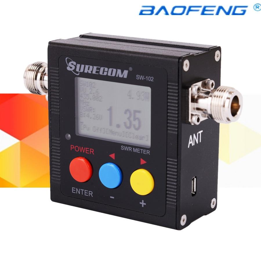 Портативная рация КСВ-метр surecom sw-102 повторителя 120 Вт цифровой УКВ 125-525 мГц автомобилей Радио аксессуары sw102 метр с usb кабель