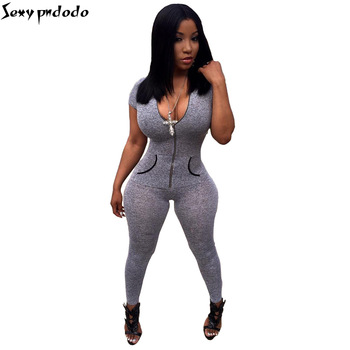 2016 New Design Summer Elegant Grey Sexy Jumpsuit Women Bodysuit Jumpsuits Party Club Playsuits Long Trousers Overalls Plus Size
