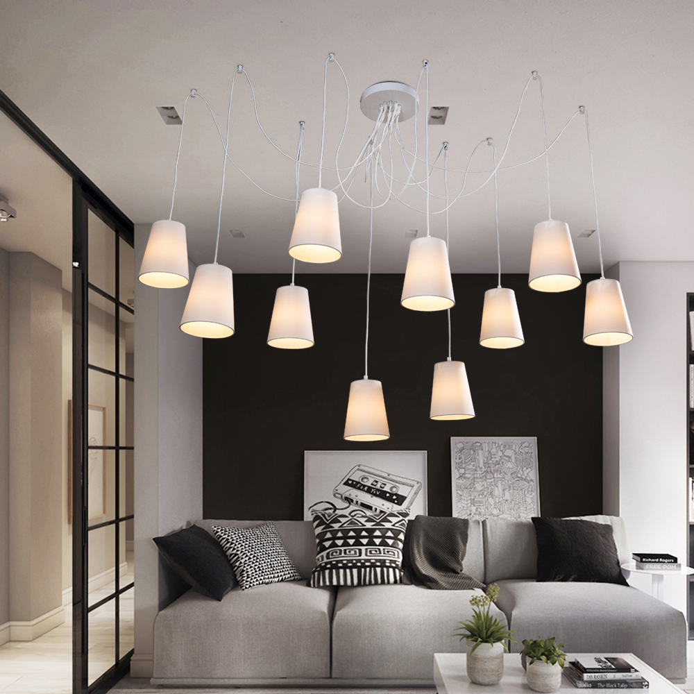 E14 Modern large spider braided chandeliers white black fabric shades/DIY 10 heads LED Clusters of Hanging ceiling lamp lighting modern fashion large spider braided chandeliers white black fabric shades diy 10 heads clusters of hanging ceiling lamp lighting