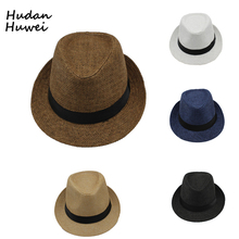 f9e73cd381720d Summer paper straw panama jazz hats caps with Ribbow Band Outdoor Travel  Hat Beach Sunhat for