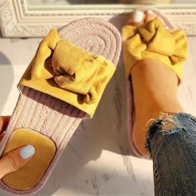 Puimentiua Frauen Hausschuhe Bogen Sommer Sandalen Indoor Outdoor Leinen-flops Strand Frauen Schuhe Weibliche Blumen Flache Sandalen