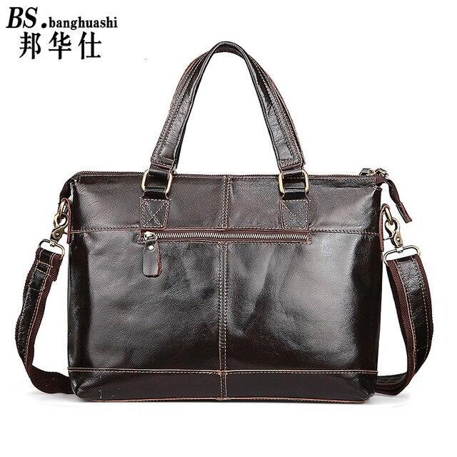 Leather men's shoulder bag Messenger bag portable briefcase business documents leather men's bag Men's Leather Bag
