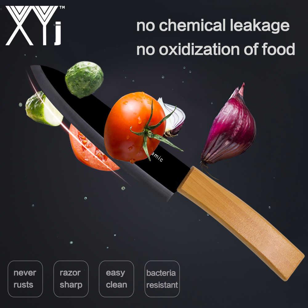 """XYj Bamboo uchwyt noże kuchenne akcesoria szefa kuchni nóż ceramiczny zestaw 3 """"4"""" 5 """"6"""" cal ceramiczne gotowanie nóż + darmowa obierak ceramiczny"""