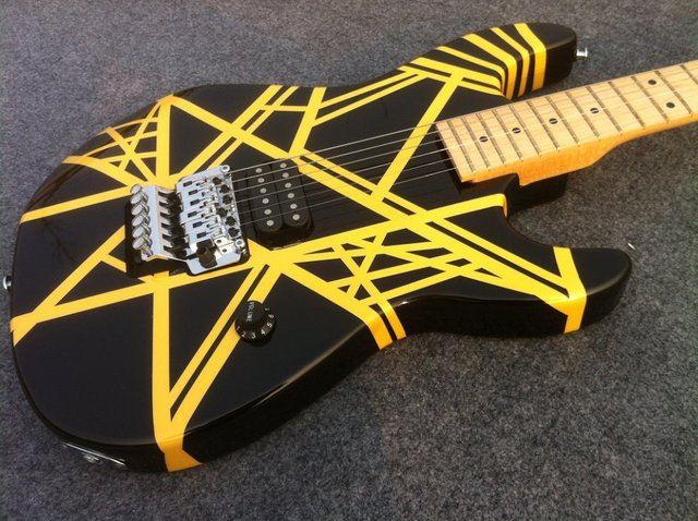 Charvel Guitar EVH electric guitar with black and yellow strip 1