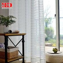 Современные полосатые тюлевые занавески для гостиной, белая вуаль, короткие отвесные занавески для спальни, обработка окна, однопанельная кухня