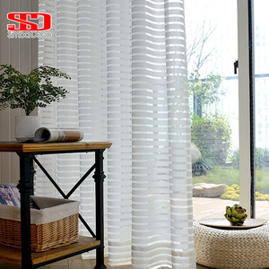 Modern Striped Tulle Curtains for Living Room White Voile Short Sheer Curtains for Bedroom Window Treatment Single Panel Kitchen