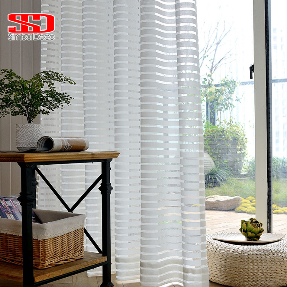 Modern Striped Window Tulle Curtains For Living Room White