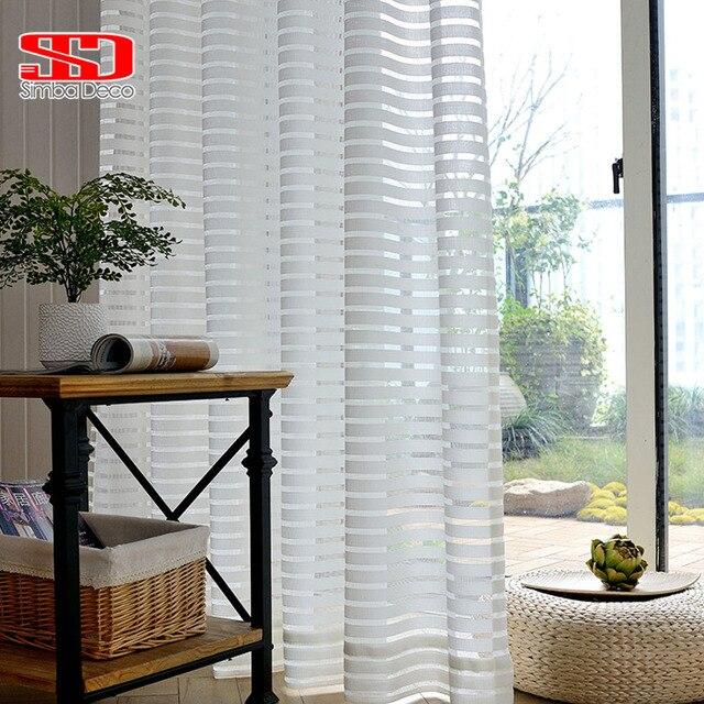 Moderne Gestreiften Tüll Vorhänge für Wohnzimmer Weiß Voile Kurz ...