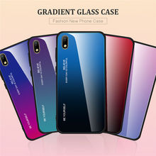 Gradient Painted Tempered Glass Back Protector Phone Cover Case For Huawei Y5 2019 / Honor 8S