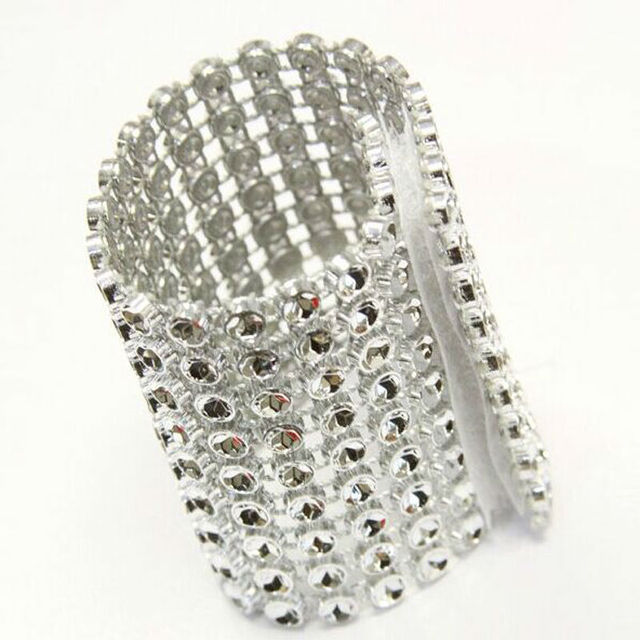 20 pcs Silver 8Rows Bow Covers With Closure Napkin Ring Diamond Rhinestone  Wedding c8b15126bde0