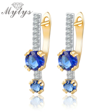 Mytys Royal Blue Crystal Earring Drops 2017 Fashion Design Earrings For Women Party Jewelry Accessory CE263