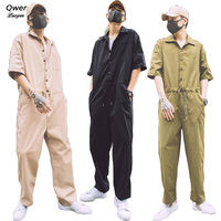 Fashion Men Jumpsuit Japanese Campus Mens Loose Overalls Sets Pocket Short Sleeve Young Jumpsuits Romper Union Suit Uniform