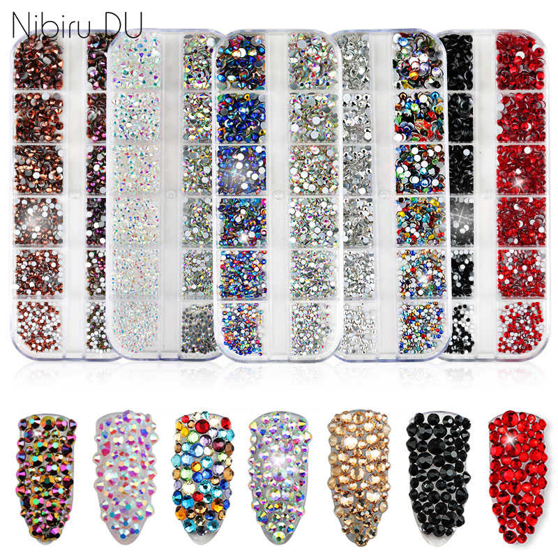 1440 pièces multi-taille verre ongles Strass cristaux Strass Partition mixte taille bricolage manucure 3D ongles Art Strass décorations