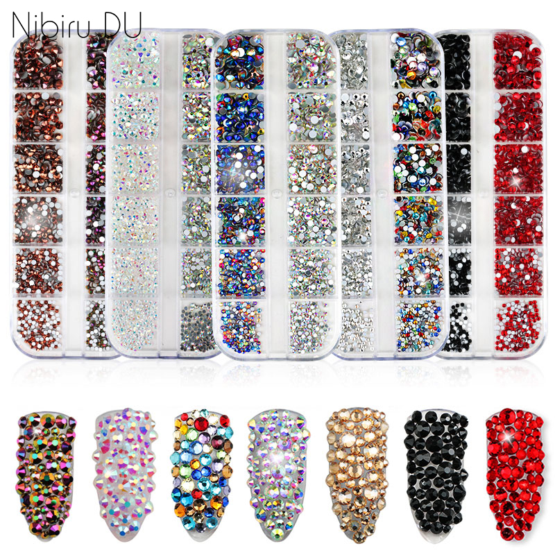 1440 pcs Multi-size Glass Nail Rhinestones Crystals Strass Partition Mixed Size DIY Manicure 3D Nails Art Rhinestone Decorations