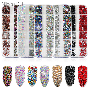 1440 pcs Multi-size Glass Nail Rhinestones Crystals Strass Partition Mixed Size DIY Manicure 3D Nails Art Rhinestone Decorations(China)