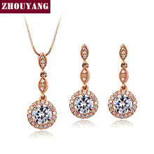 ZHOUYANG Top Quality ZYS283  CZ   Rose Gold Plated Jewelry Necklace Earring Set Rhinestone Made with Austrian  Crystals