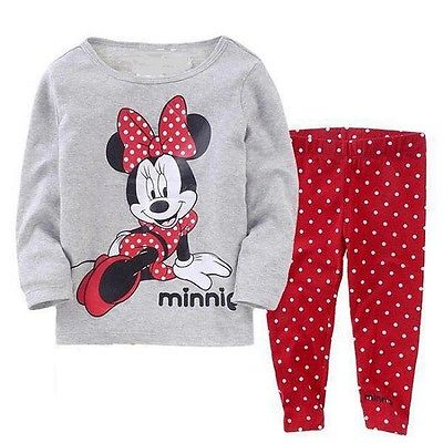 Kids Baby Girl Cartoon clothes suit Toddler Minnie Mickey Baby Kid Girls Nightwear Pajamas Pyjamas Spring Fall Sleepwear Suit 2016 christmas suit 0 3y newborn toddler kids girls boys reindeer homewear nightwear sleepwear pajamas set 2pcs