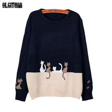 2019 New Women Sweater Autumn & Winter The Cartoon Cat Small Embroidery Knit