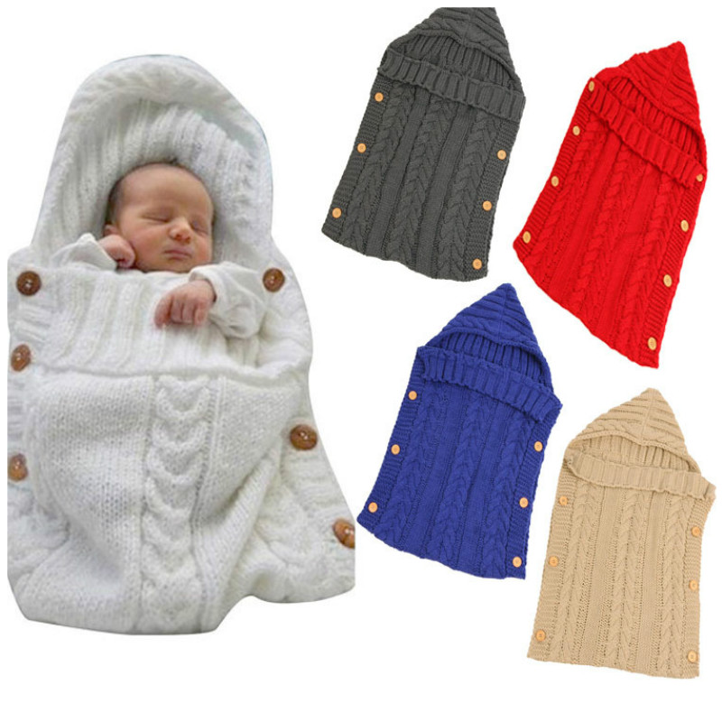 Newborn Baby Sleeping Bag Winter Warm Wool Knitted Hoodie Swaddle Wrap Cute Soft Infant Baby Stuff Baby Accessories 70*35cm