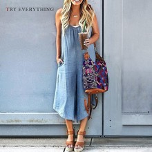 Plus Size Casual Jumpsuit Women Summer 2019 Blue Loose Denim Trousers Female Sexy Long For Womens Rompers 3XL