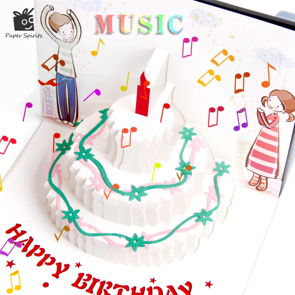 Vintage Postcards Handmade Colour 3D Pop UP Kirigami Musical Greeting Cards Birthday Paper with Mini Gift Thank You Laser Card