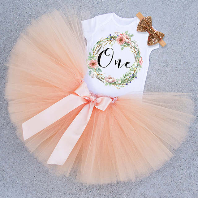 Newborn Baby Girl 1 Year Birthday Party Wear Outfits Toddlers 1st Clothes Infant Clothing Cotton