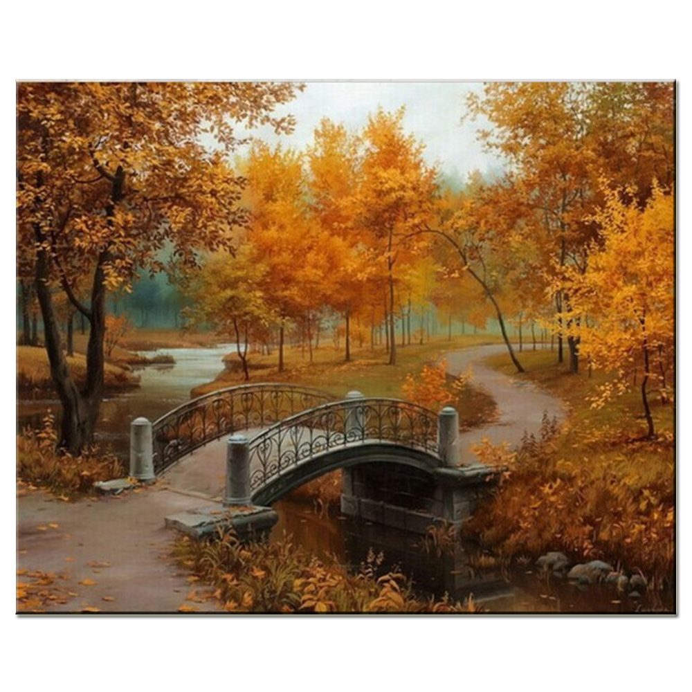 Hand Painted Painting Late Autumnfor Bridge Landscape Wall Room Decor By Numbers Digital Oil Painting on Canvas Orange Tree